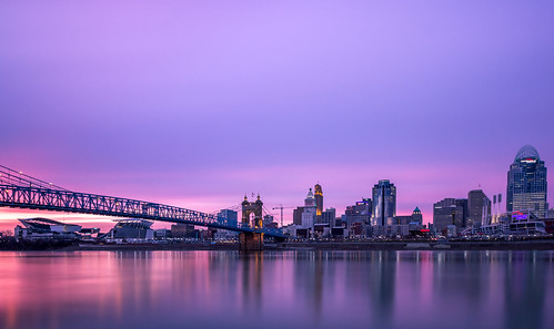 bridge sunset reflection cityscape cincinnati