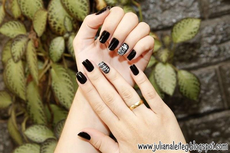 unha decorada juliana leite nail art preto e branco chic classica filha unica pintar uma unha so como fazer as unhas  04