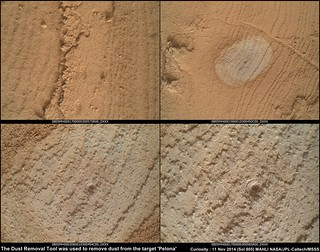 Sol 805 MAHLI images of the target Pelona, cleaned with the DRT