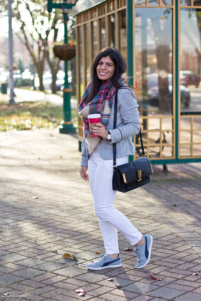 grey sweatshirt blazer, white jeans, plaid scarf.jpg