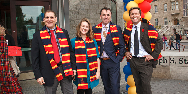 Pictured (l-r): Principal Woolf and student Hannah Smith with Steven and Grant Joyce, representing the Joyce Foundation, at the announcement of a $5 million gift toward student bursaries.