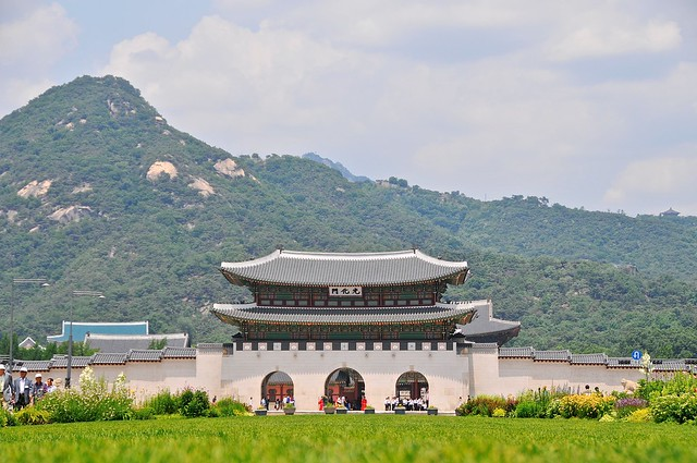 Gyeongbokgung Palace over grass