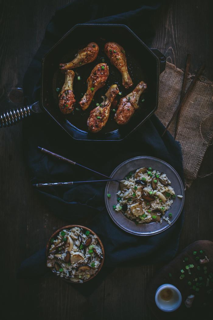Yuzu Kosho Glazed Chicken Drumsticks With Shiitake Mushroom & Turnip Rice Salad by Eva Kosmas Flores | Adventures in Cooking