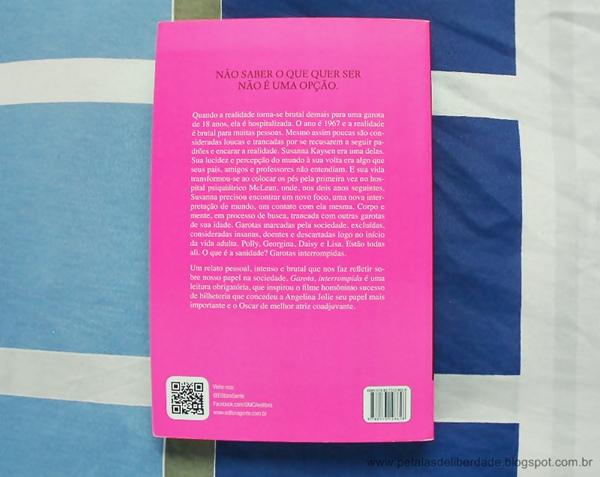 Contracapa, livro, Garota, interrompida, Susanna Kaysen, Unica Editora, resenha, capa, trechos, filme, quotes, sinopse
