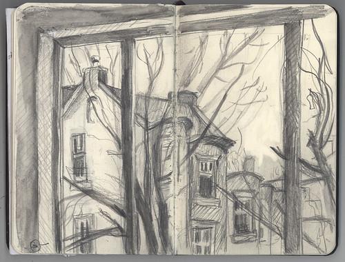 autumn sketch massachusetts brookline urbanlandscape bostonarea watersolublegraphite 5bpencil pocketsizemoleskine marciamilnerbrage