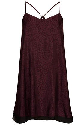 topshop jacquard swing slip dress mulberry