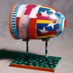 Sean O'Meallie; A Bullet You Can Hug - Polychrome wood; 15x12x9; 1999; Collection of Kat & Bob Tudor, Colorado Springs CO