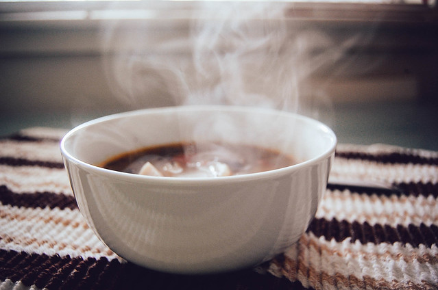 Steaming bowl of soup