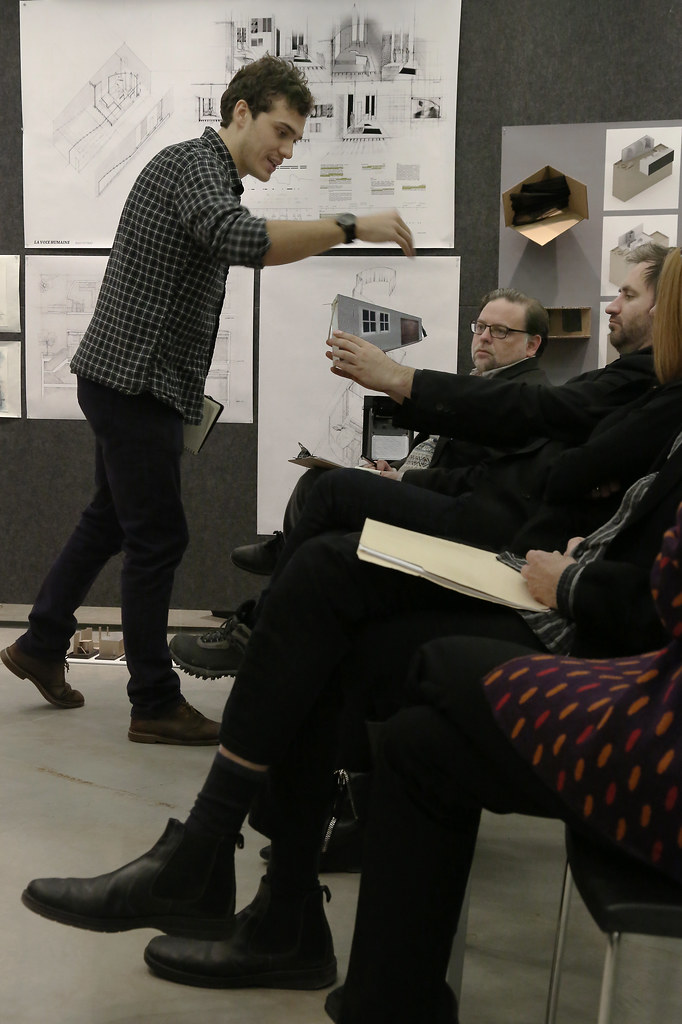 First-year M.Arch. studio review in the Milstein Hall Dome.