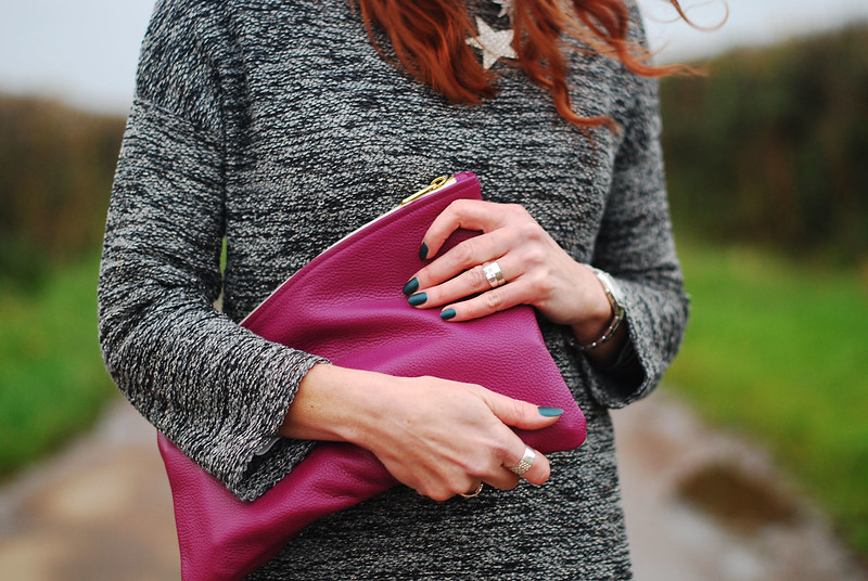 Grey sweater dress, magenta clutch