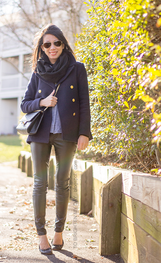 black infinity scarf, navy pea coat, chambray shirt, black crossbody bag, black faux leather pants