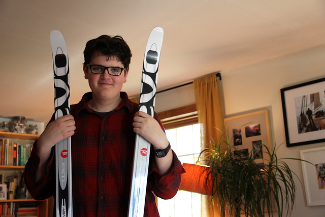 Adam with his new skis