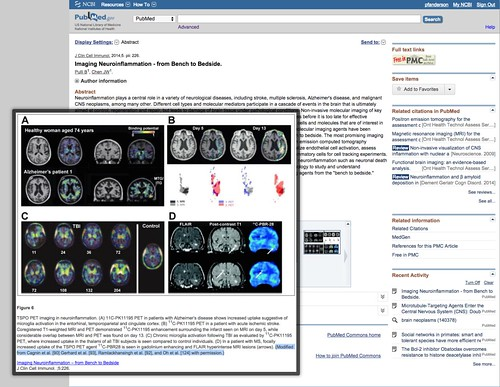 PubMed Example of Research Figure Searching & Display (Neuroinflammation Imaging)