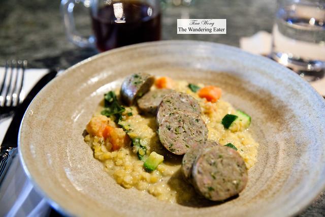 Rabbit sausage, lentils, zucchini, kale, carrot, ramps