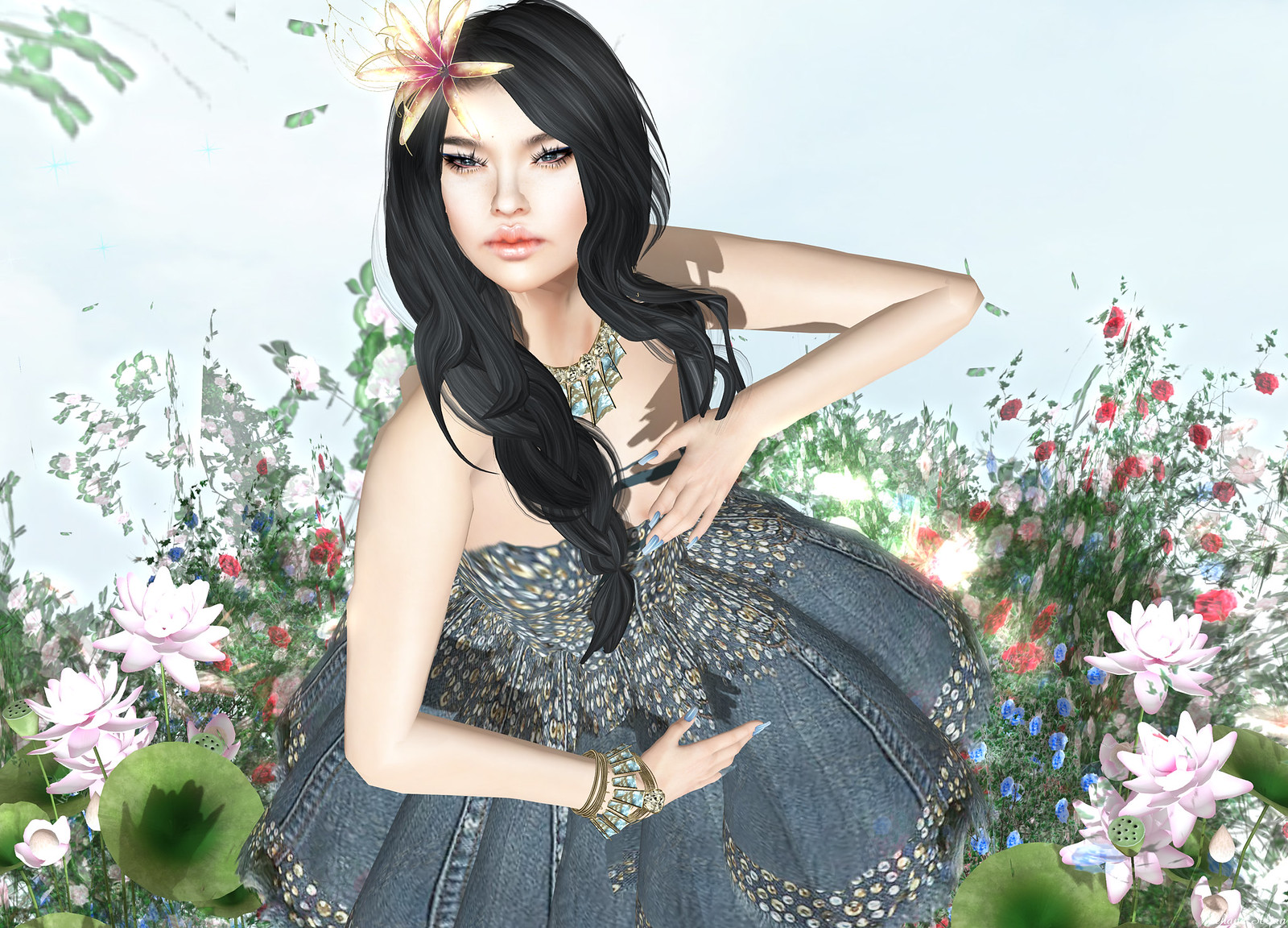 Snowpaws - Denim Duo Mini Dress