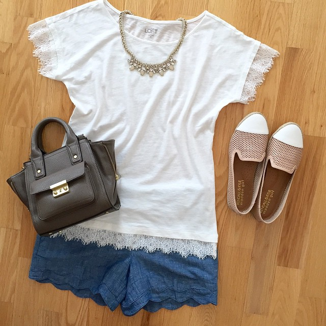 Snagged this #lace sleeve tee @loft outlet for $11.99 (style no. 358251). @liketoknow.it www.liketk.it/14BQ0 #liketkit #salealert #loftoutlet #springstyle #chambray #philliplimfortarget #flatlay #outfitgrid #loveLOFT #liveloveloft #loftgirl #bfftrends #st