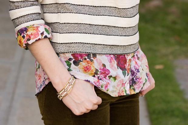 Mixed Prints Outfit, Loft Sweatshirt