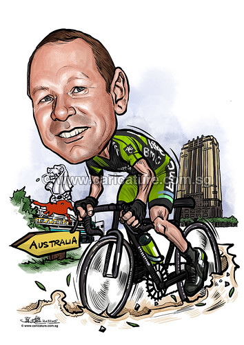 cyclist digital caricature for Ace (watermarked)
