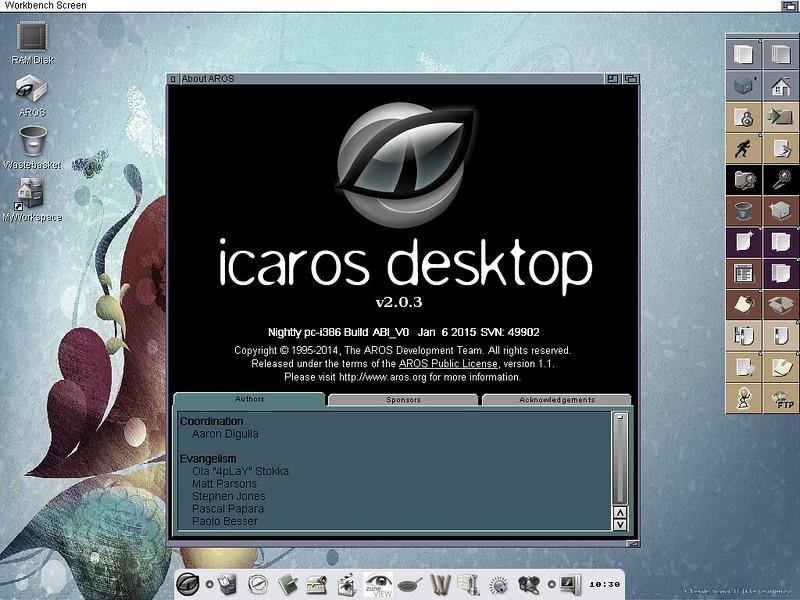 AROS / icaros desktop running on ThinkPad X201s