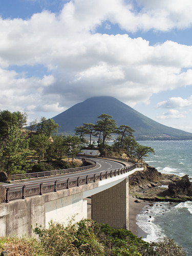 bridge sea sky cloud green way drive wave kagoshima nokton omd 鹿児島 kaimon em5 開聞岳 瀬平公園