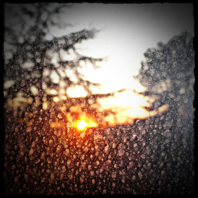Dirty window sunrise
