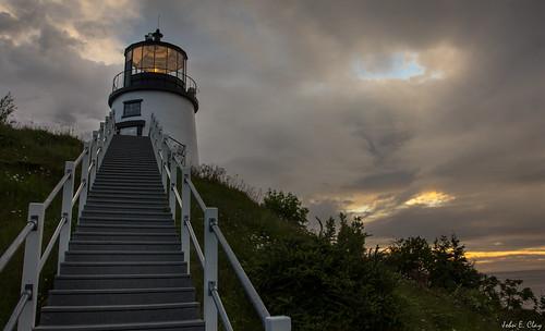 ocean lighthouse sunrise dawn maine newengland owlshead jclay