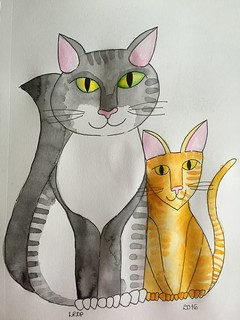 17 - Friendship - Cats - Satchi and Peanut | by Pict Ink