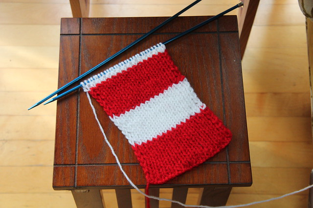 American Flag scarf in progress