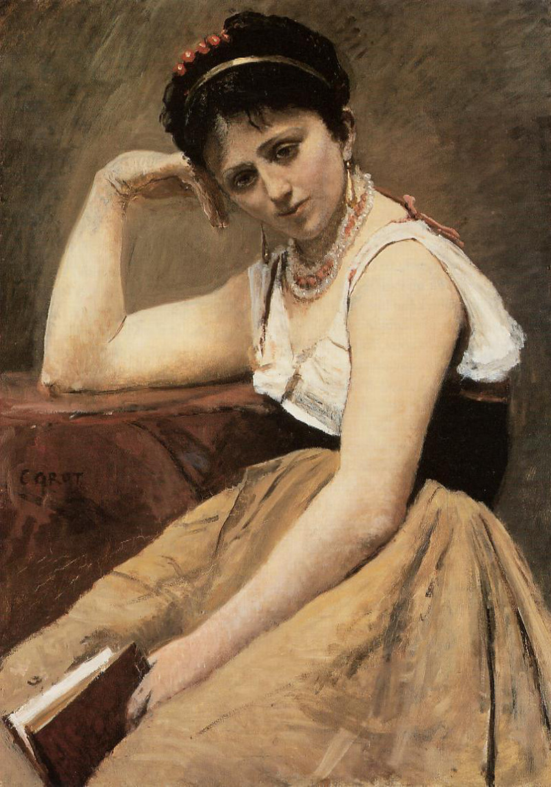 Interrupted Reading by Camille Corot, 1870