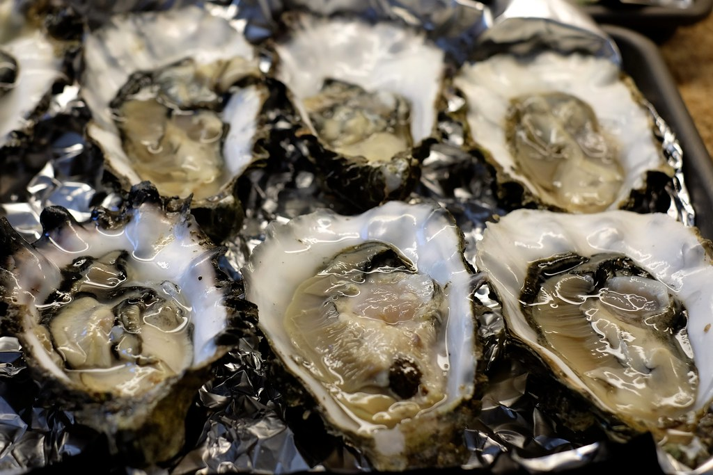 oysters pacific, mollusks, cooked, moist heat