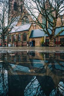 Grote Kerk - The Hague (reflected in pool)