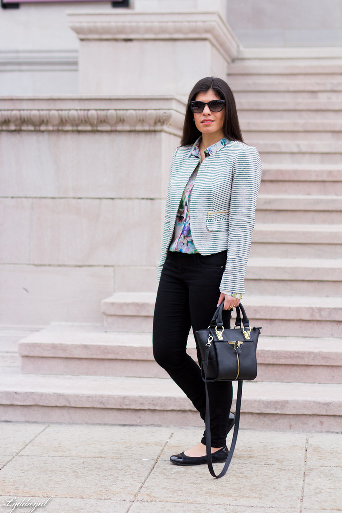 striped blazer, floral shirt, black pants, ballet flats.jpg