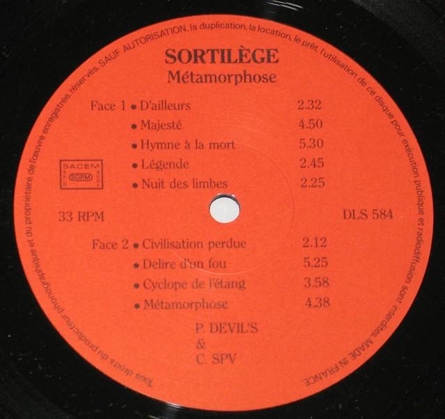 "SORTILÈGE - METAMORPHOSE LYRICS SHEET DLS 584 12"" Vinyl LP"