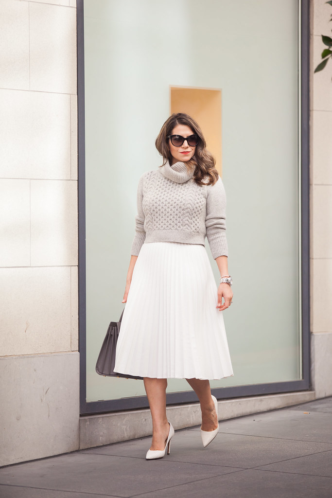 club monaco sweater what to wear to work spring white skirt accordian skirt dvf pumps prada sunglasses fashion blogger sweater cropped sweater corporate catwalk what to wear to work cute sprint outfits red lipstick zara skirt jcrew outfit post nyc blogger