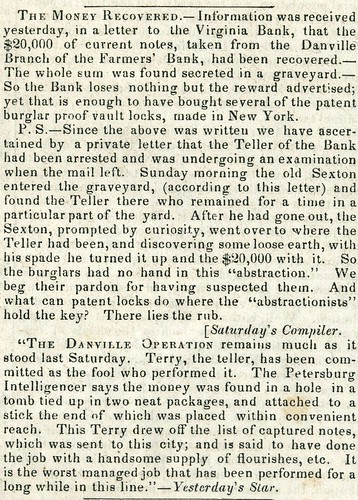 Danville branch Farmers Bank of Virginia robbery Aug 1841 Richmond Enquirer 2