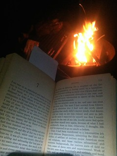 Reading Vonnegut by the campfire.