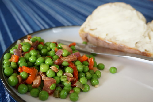 Spring pea salad with bacon dressing