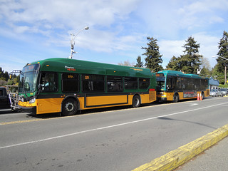 King County Metro 3751 (New Flyer XDE35) and 7123 (Orion VII) at Fauntleroy ferry terminal