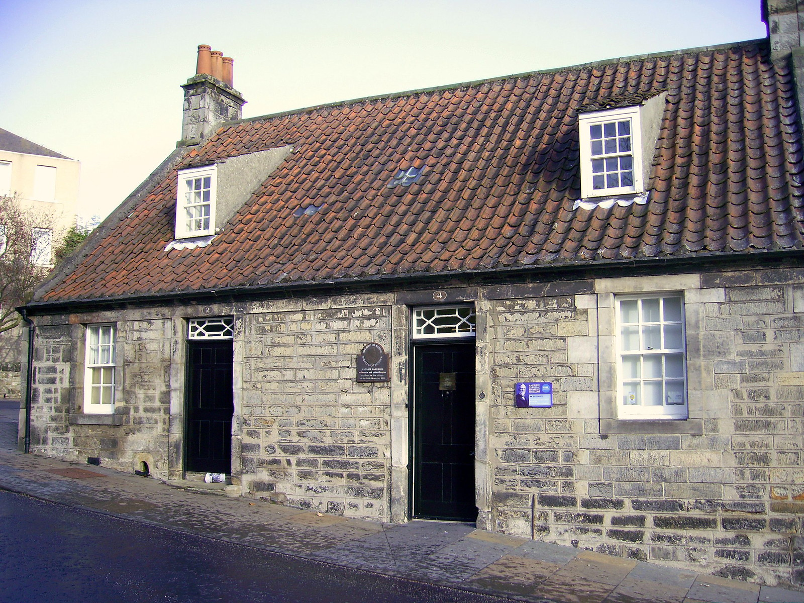 Andrew Carnegie's birthplace, 4 Moodie Street, Dunfermline, Fife, Scotland. Credit Kilnburn
