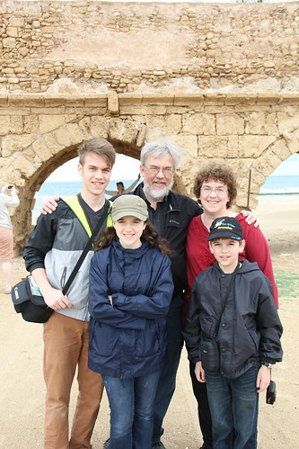 Bates family in front of Roman aqueduct at Caesarea Maritima, Israel