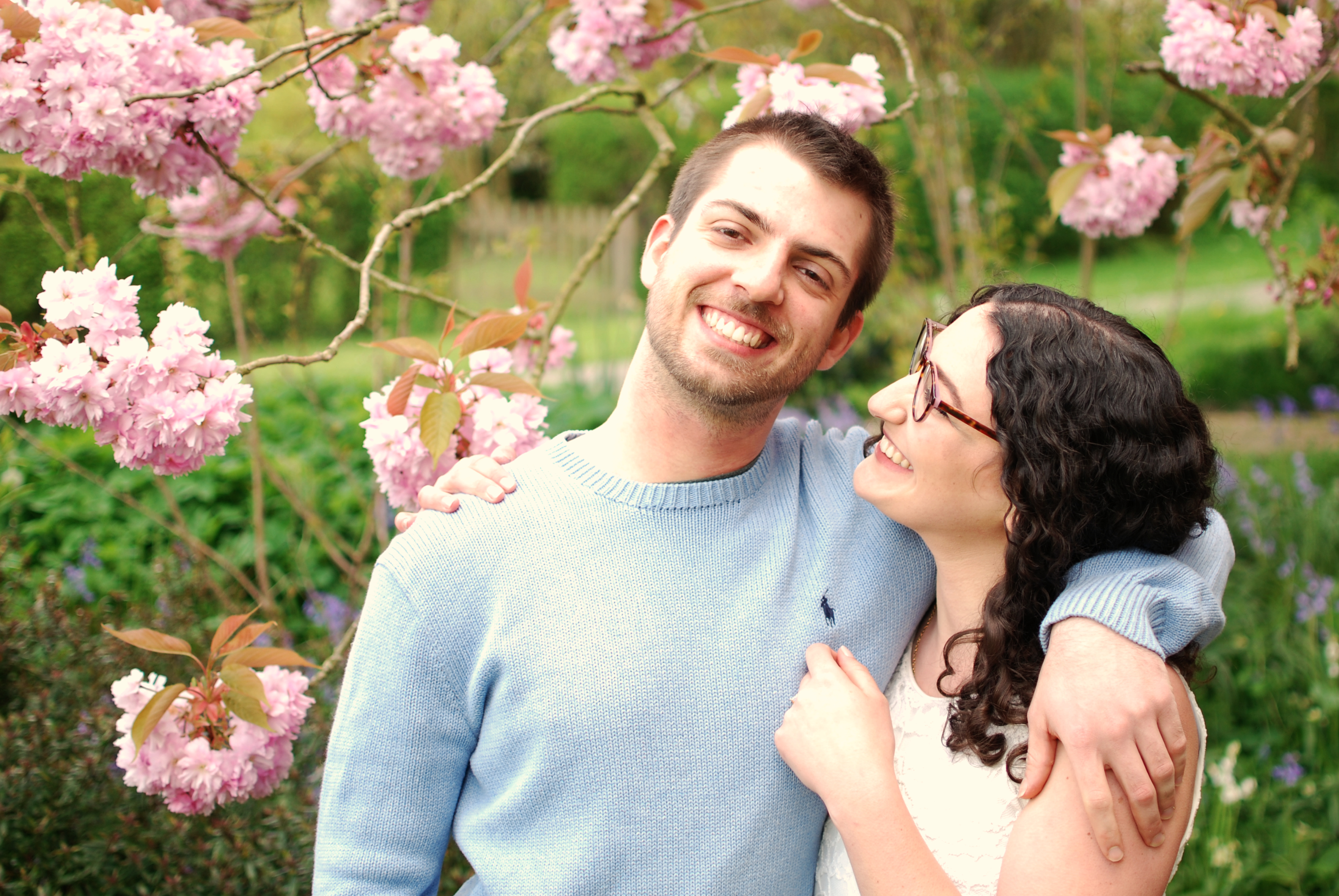 engagement photography shoot, cherry blossom