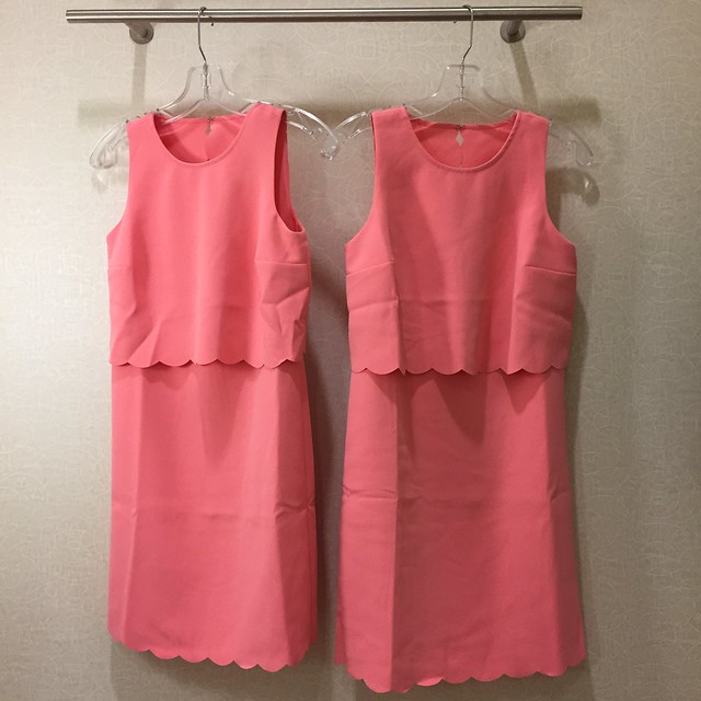 LOFT Scalloped Crop Illusion Dress size 00P (left) and size 0P (right)