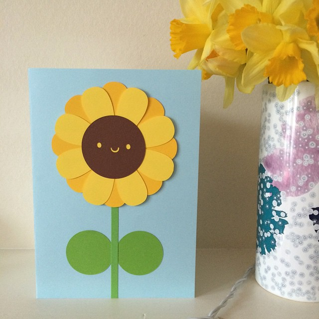 Now that she's opened it: paper cut sunflower card I made for my mum. Happy Mother's Day!