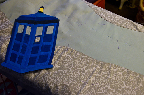 Step 4: Using an invisible marking pen or white fabric pencil, mark where on the quilt you want to place the applique.