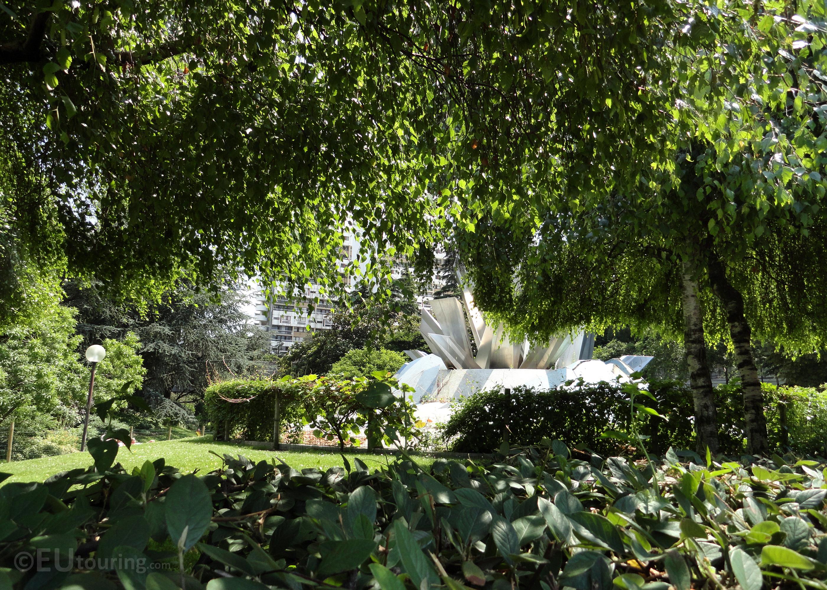 Through trees to the fountain