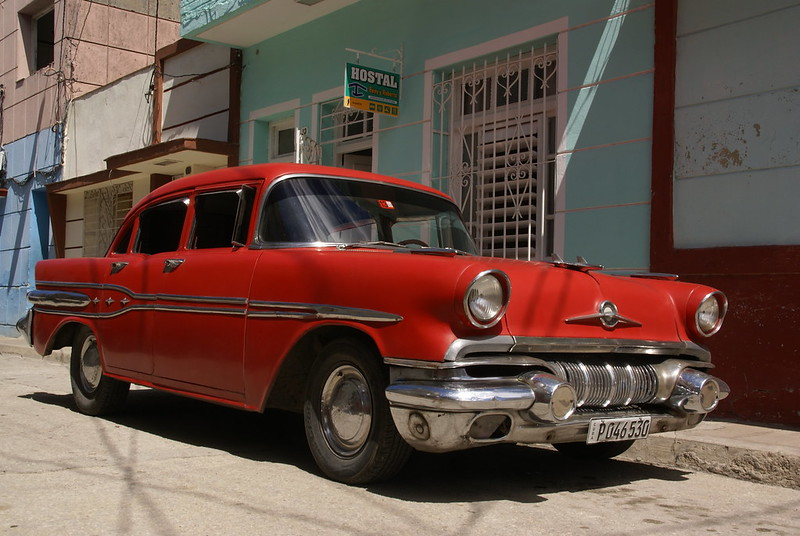 Red 1950's Pontiac Outside the Casa of Beny and Roberto Santa Clara Cuba