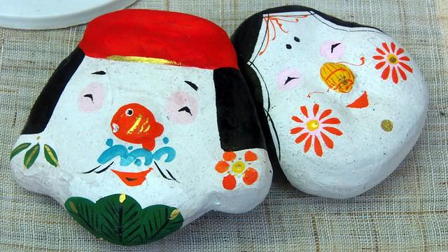 Photo:#9492 clay figurines: Ebisu (恵比寿) and Otafuku (お多福) By Nemo's great uncle