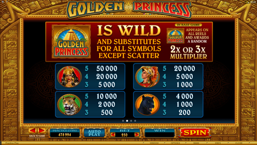 free Golden Princess slot payout