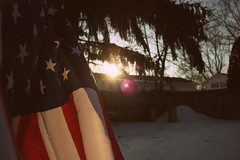 Sunlight On An American Flag