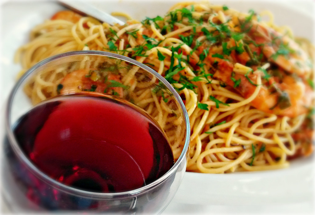 Wine Spaghetti and Shrimps